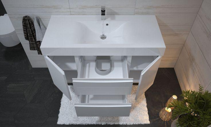 Szafki umywalkowe z pojemnymi szufladami i drzwiczkami po bokach zapewnią bardzo dużo miejsca na przechowywanie środków czystości, ręczników i kosmetyków.