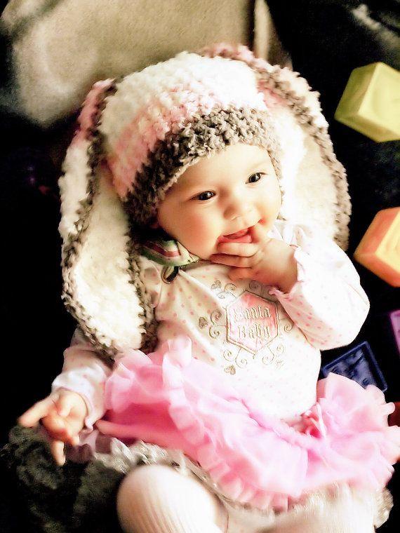 3 to 6m Baby Hat Stripe Bunny Beanie  Crochet Girls by BabaMoon