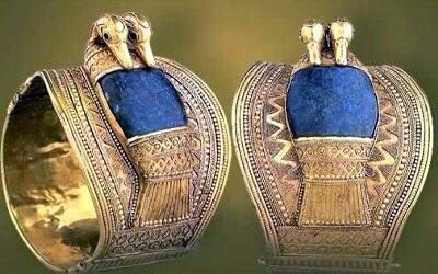 Pair of wristbands, in gold with inlays, inscribed to King Ramesses II (Usermaatra Setepenra c.1279-1213 BC, Dynasty 19). Cairo Museum, Egypt.