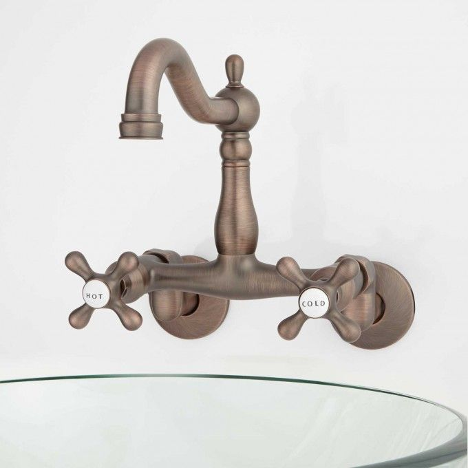 Made Of Heavy Duty Brass, The Dekeyser Wall Mount Kitchen Faucet Is Built  For Todayu0027s Busiest Homes. The Porcelain Accented Cross Handles Are  Designed For ...