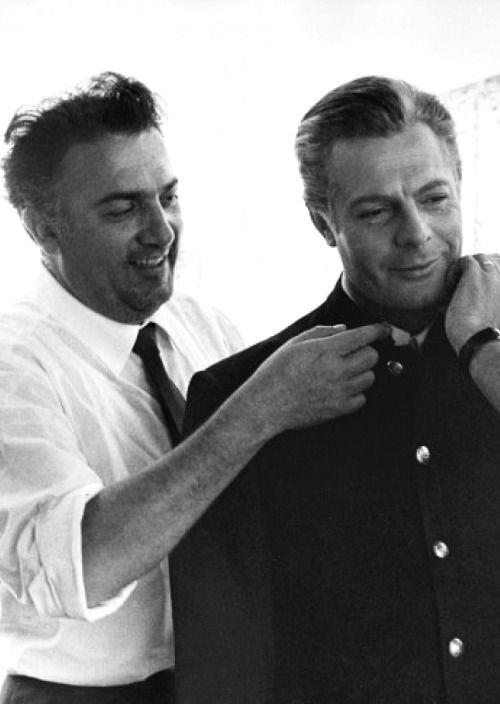 fuckindiva: Federico Fellini and Marcello Mastroianni on the set of 8½, 1963