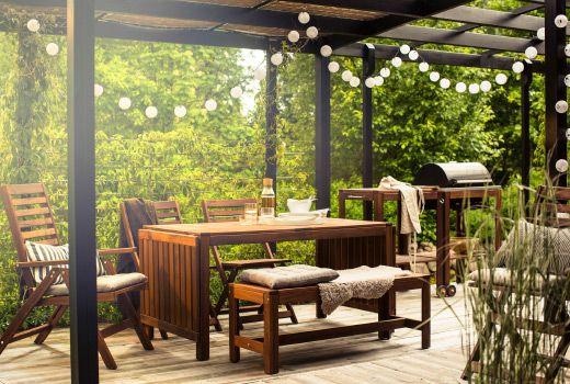 Pplar gartenm bel aus massivholz u a pplar bank au en in braun home - Ikea pergolas jardin ...