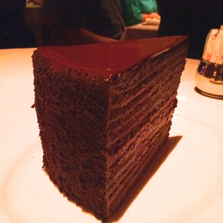 """The Strip House Chocolate Cake has been recognized on the Food Network's show """"The Best Thing I Ever Ate"""" and boasts 24 layers of delectable chocolate goodness in each 1.7 puns slice!  At Strip House at Planet Hollywood in Las Vegas, Nevada"""