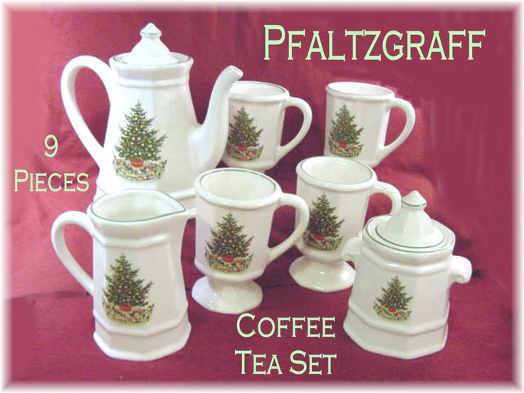 197 best old time christmas images on pinterest vintage ships free pfaltzgraff christmas tree heritage 9 pc coffee tea serving set surprise giftssugar negle Images