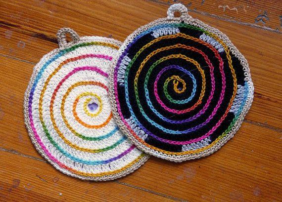 Conjunto de duas pegas em croché para tachos e by Tricksland