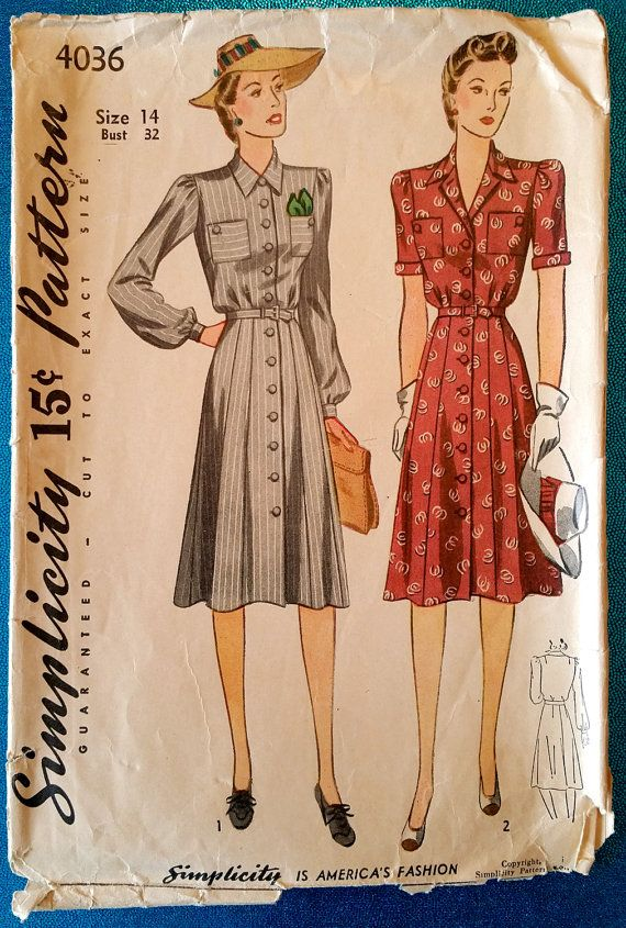 Rare vintage 1941 dress sewing pattern  Simplicity by kwirkykiwi