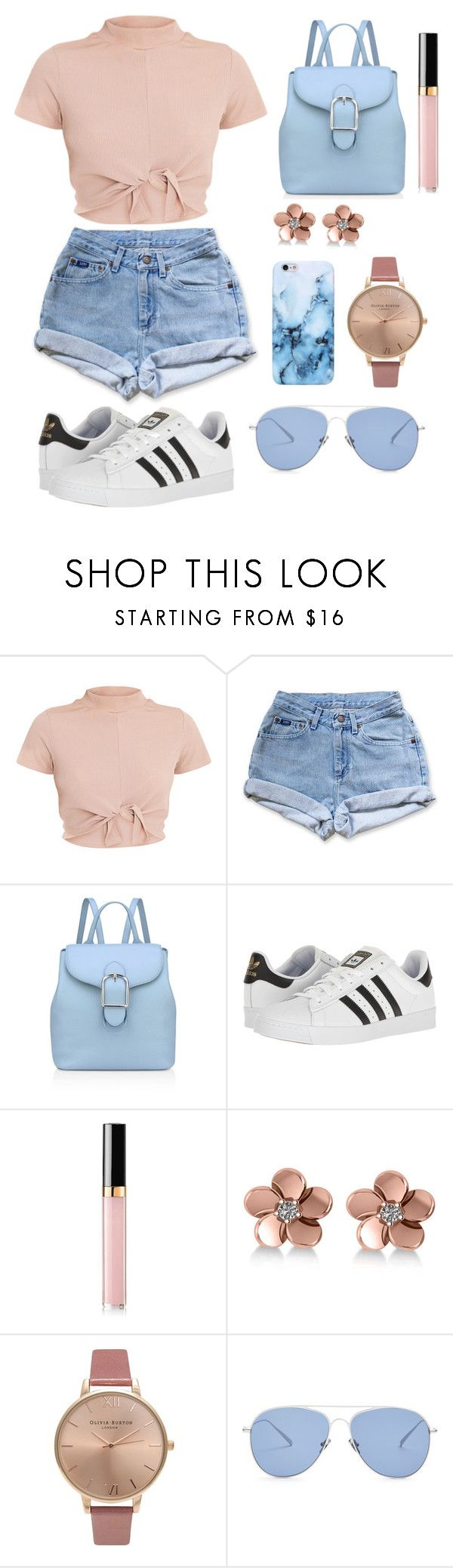 """""""While We're Young"""" by joyymedina ❤ liked on Polyvore featuring Levi's, Anne Klein, adidas, Chanel, Allurez, Olivia Burton and Kaleos"""