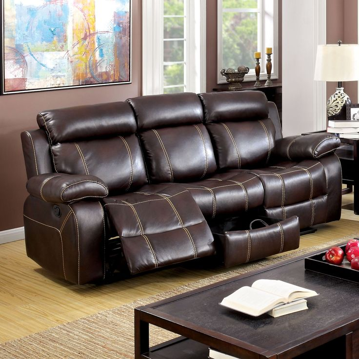 Furniture Of America Landell Transitional Brown Leatherette Reclining Sofa  (Brown)
