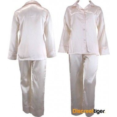 Rug up for winter and dream the night away in these beautifully made soft yellow and white striped satin pyjamas pj's.  Light enough to keep you warm.
