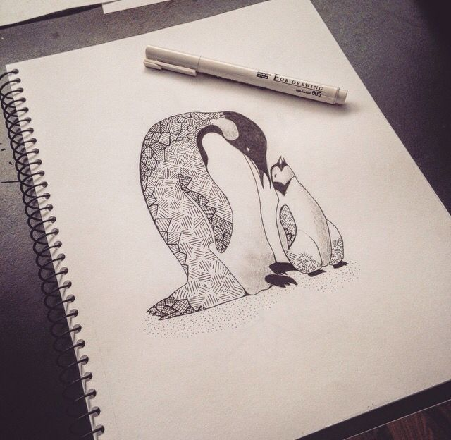 • A Pinguins Love •  Pinguins love, drawing, animal, unconditional love.