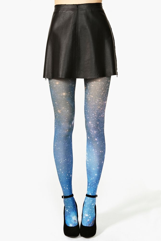 Nasty Gal, accessories, clothes, clothing, bottoms, tights, stockings, galaxies, astronomy, blue, yellow