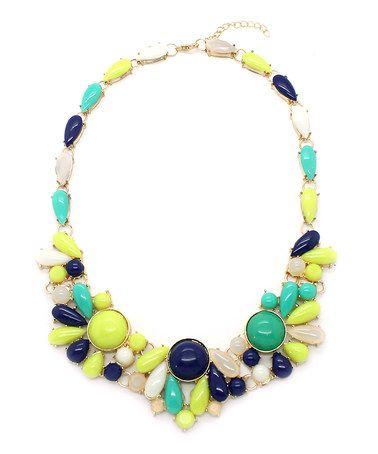 Loving this Neon Green & Black Sade Statement Necklace on #zulily! #zulilyfinds