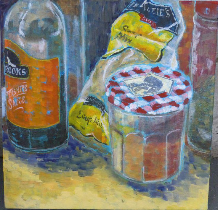 """Joanna Mansueto """"kitchen cameo"""" oil on canvas 2014"""