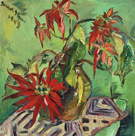 Irma Stern (South African, 1894–1966)  Still life with poinsettias , 1943  Medium:  oil on canvas  61 x 61 cm. (24 x 24 in.)