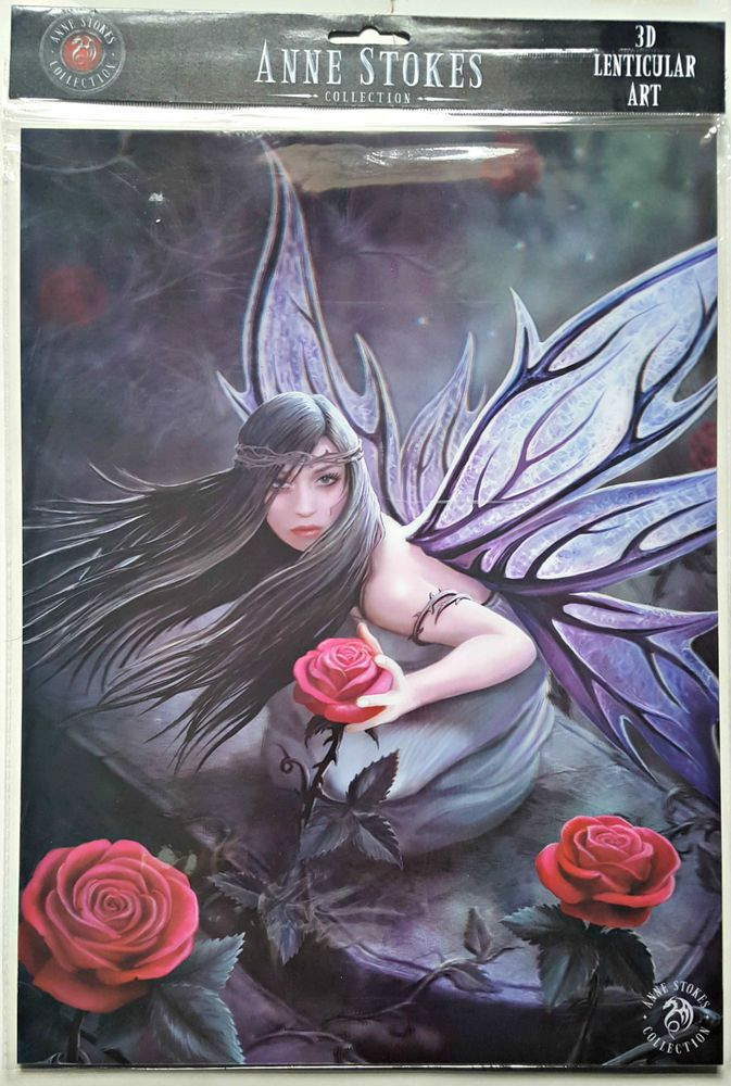 Brand New Licensed 3D Lenticular Art Anne Stokes Rose Fairy Print