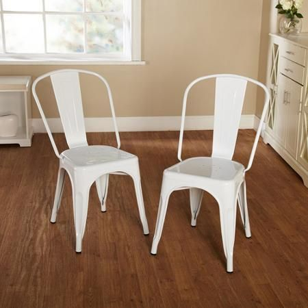Patio Furniture Garden Chair Set of 2 Metal White - Chairs