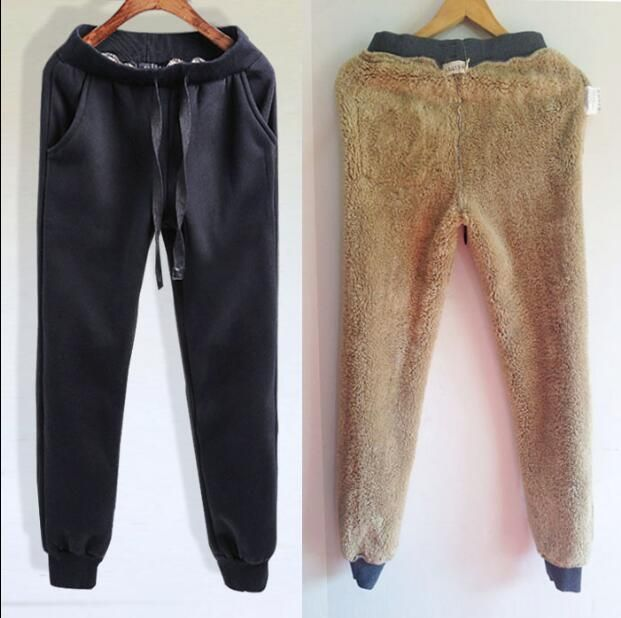 Mens Winter Jogging Pants Warm Fur Lined Sweatpants Drawstrings Causal Trousers