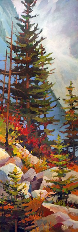 "'Steeped Trees' 20"" x 60"" acrylic on canvas by Randy Hayashi"