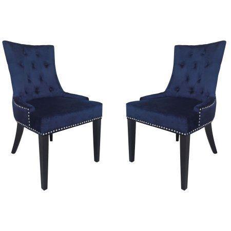 Uptown Navy Velvet Dining Chair, Blue