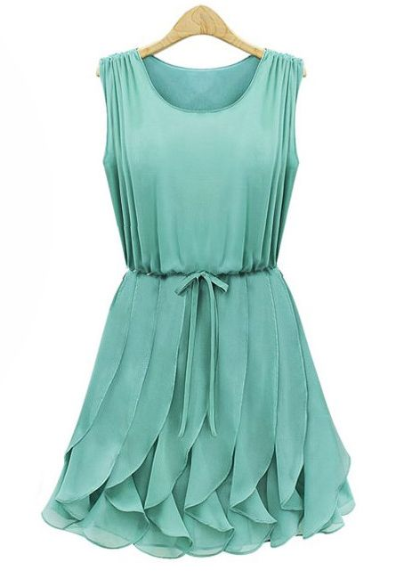 Green Sleeveless Pleated Chiffon Dress with Ruffles