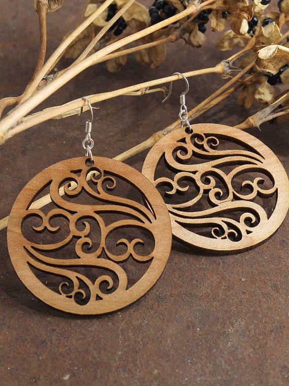 Filigree Earrings  Laser Cut Wooden Hoops  by TimberGreenWoods, $15.95
