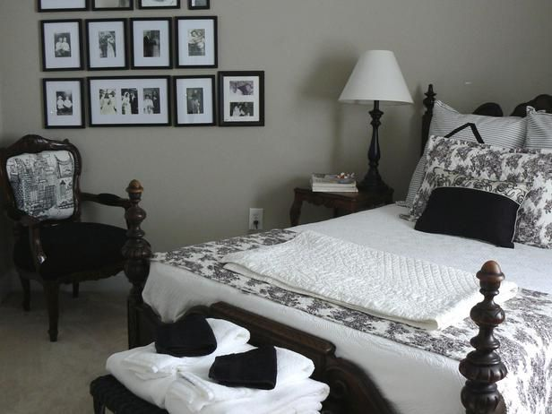 Classic Black-and-White Guest Room