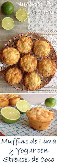 Muffins de Lima y Yogur con Streusel de Coco y Nueces de Macadamia: Textura esponjosa y suave que contrasta con el streusel crujiente y con sabor refrescante y delicado.