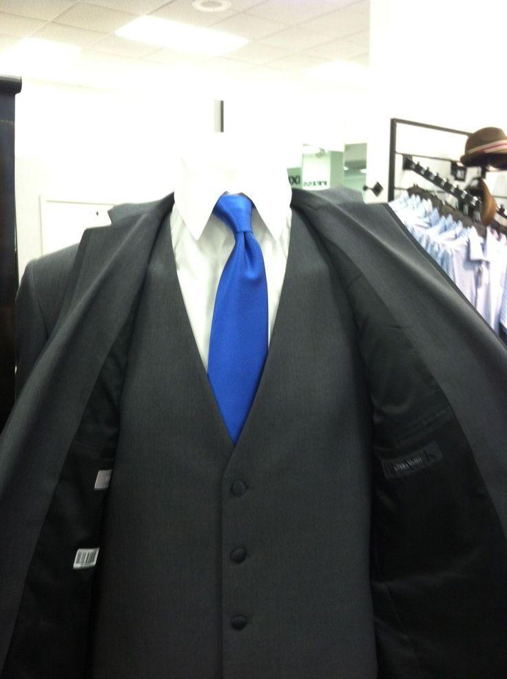"""Charcoal gray Men's Wearhouse three piece suit, dark """"horizon"""" blue ties"""