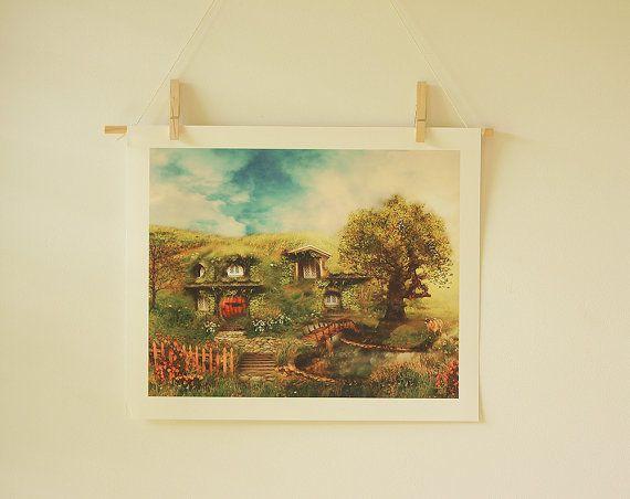 The Shire My Dream Hobbit House 8 x 10 by GingerKellyStudio