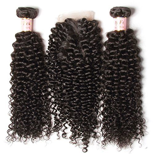 B&F Hair Unprocessed Brazilian Virgin Curly Hair Weave 3piece/lot Bundles with 1piece Free Part Lace Frontal Closure 100% Human Hair Extensions Nature Color (20 22 24+16closure)