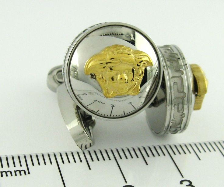 versace Cufflinks 316L Stainless Steel Gold Head Medusa Greek Design Cuff Links #NewinBox