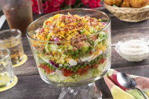What You'll Need: 2 cups mayonnaise 1/2 cup sour cream 1/2 teaspoon garlic powder 1 head iceberg lettuce, chopped 2 red bell peppers, finely chopped 1 onion, finely chopped 1 (9-ounce) package frozen green peas, thawed and drained 3 celery stalks, finely chopped 2 cups (8 ounces) shredded sharp Cheddar