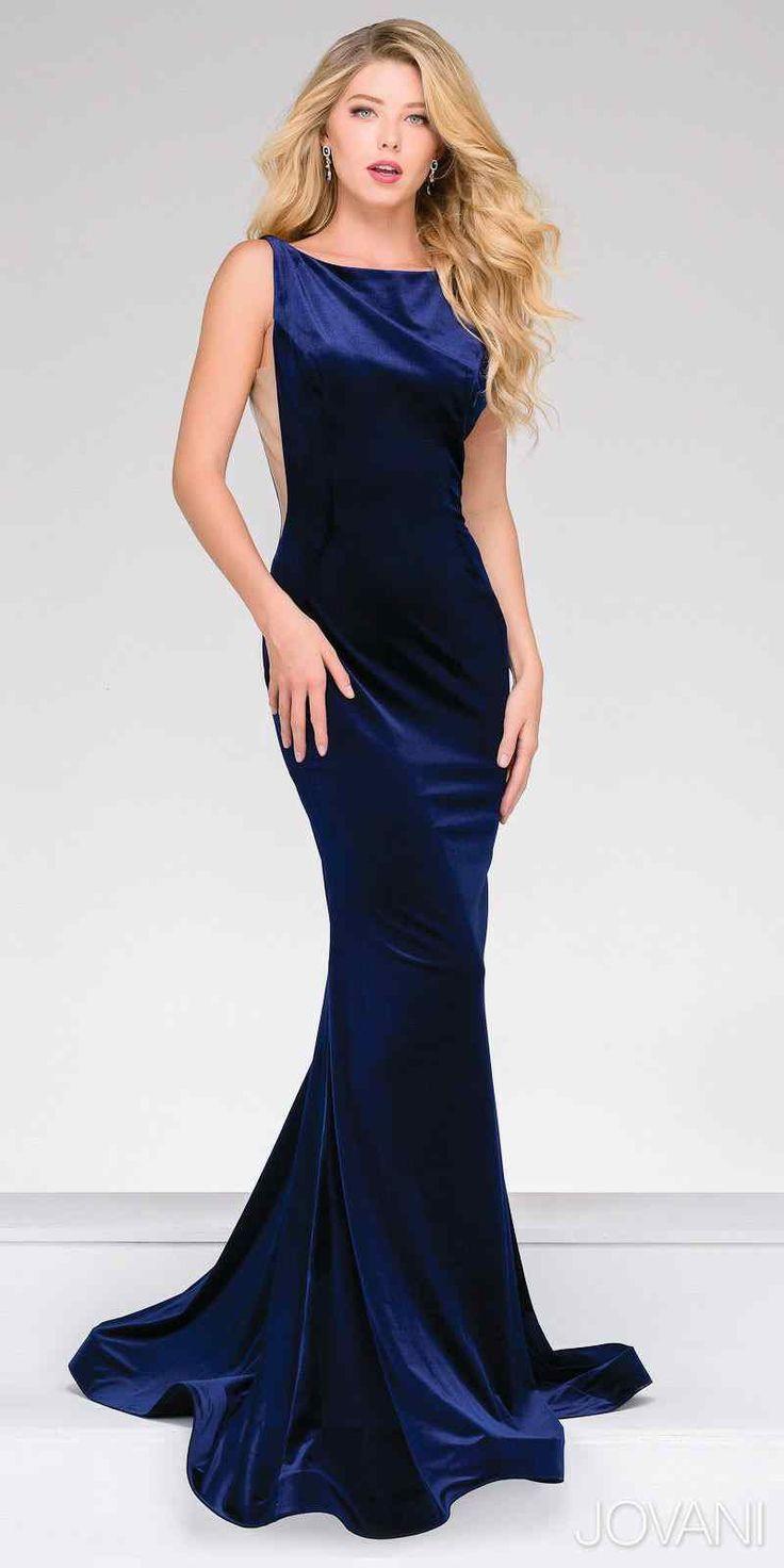 Parlak mavi Uzun kadife abiye elbise