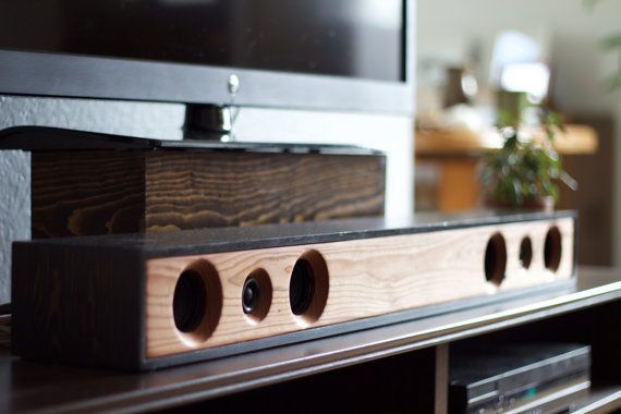 Sound Bar 2.1 All-In-One Powered Home Theater System || Reclaimed Redwood with Ebony Stained Enclosure