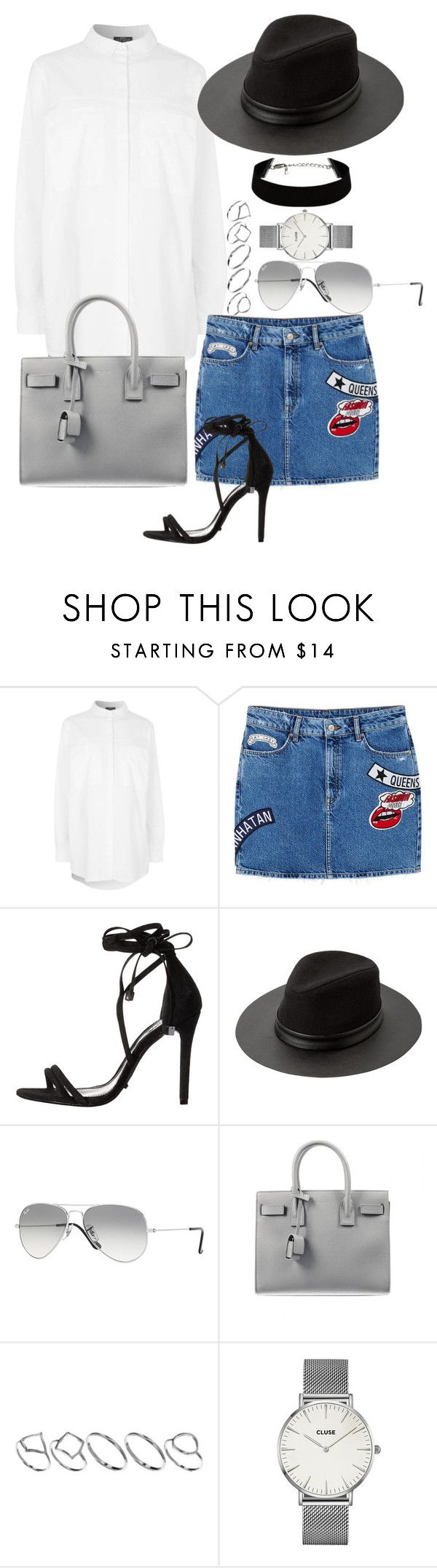 """""""#708"""" by blendingtwostyles ❤ liked on Polyvore featuring Topshop, MANGO, Schutz, Ray-Ban, Yves Saint Laurent, ASOS and CLUSE"""