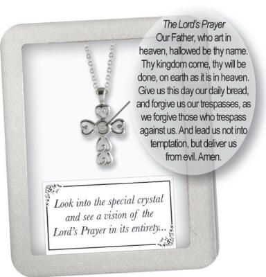 """Lord's Prayer Cross Pendant  on adjustable 13-14.5"""" chain. Gift Boxed. Silver Plated. (Item #10035)"""