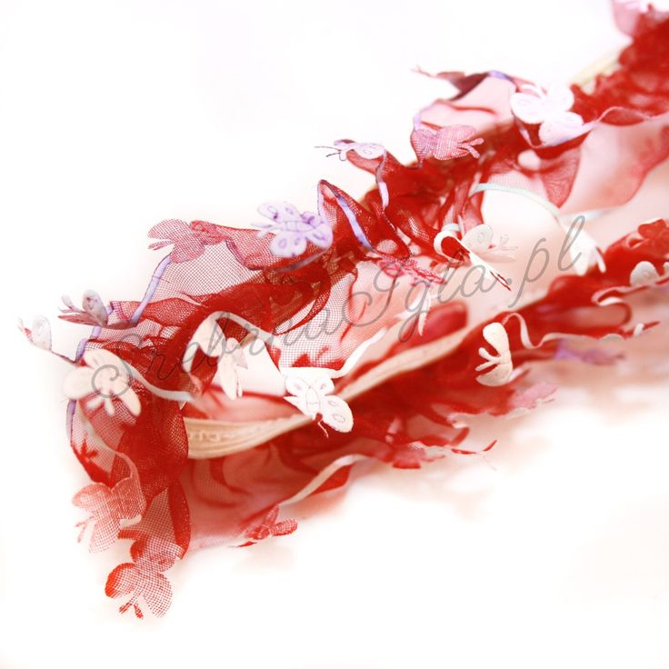 Guma ozdobna z falbanką - bordowe motyle