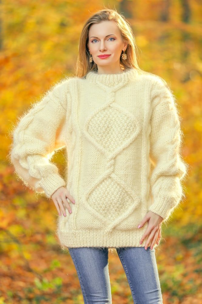 7faf2f689 Ivory hand knitted sweater fuzzy thick mohair pullover warm jumper ...