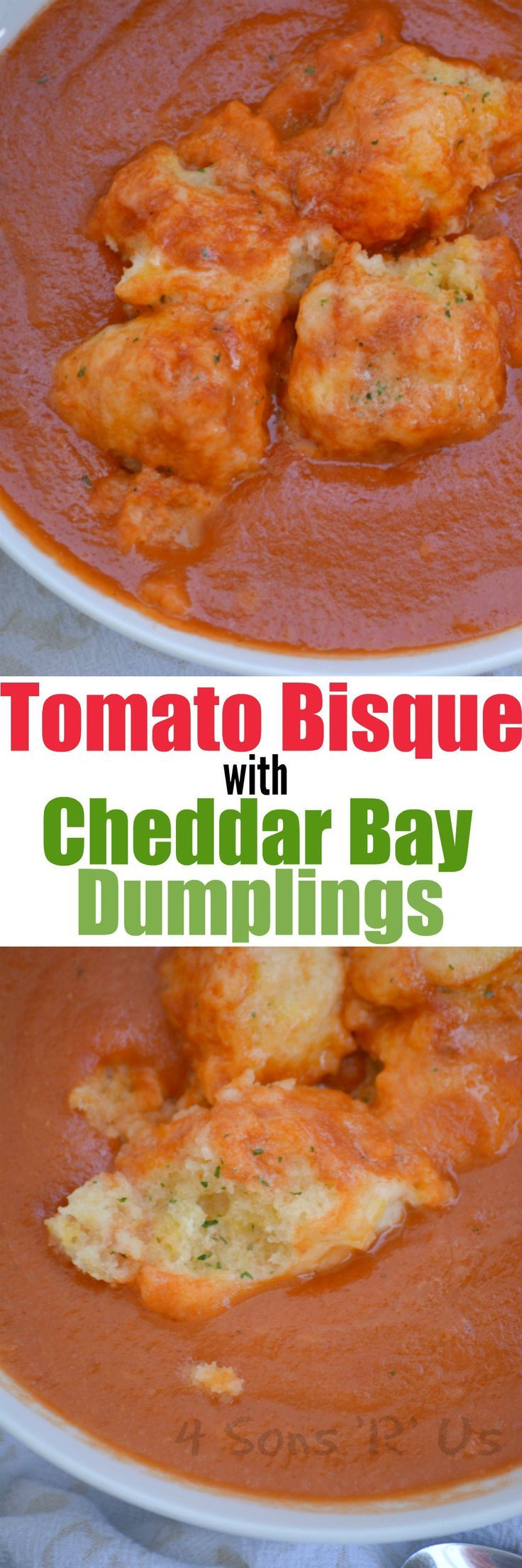 This yummy Tomato Bisque with Cheddar Bay Dumplings is the soup lovers' dream come true. A rich, creamy tomato bisque is studded with buttery Cheddar Bay style dumplings for a new twist on on a couple classics.