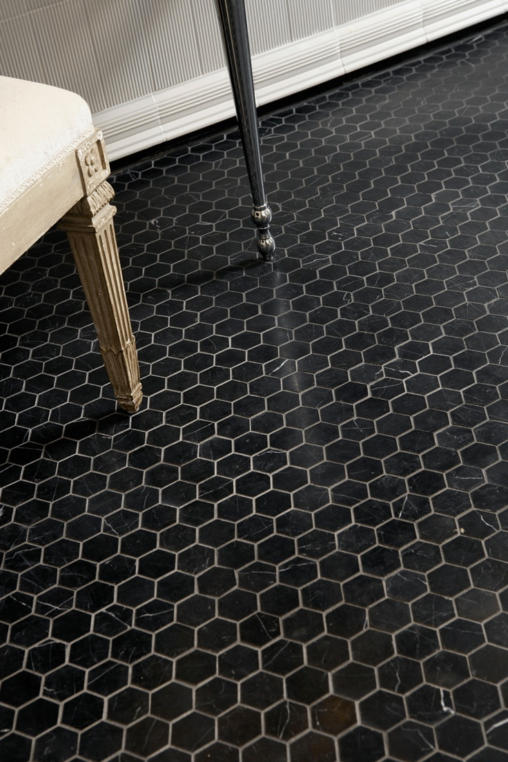 Ann sacks nero marquina 2 hexagon marble mosaic in honed finish dining room pinterest Marble hex tile bathroom floor