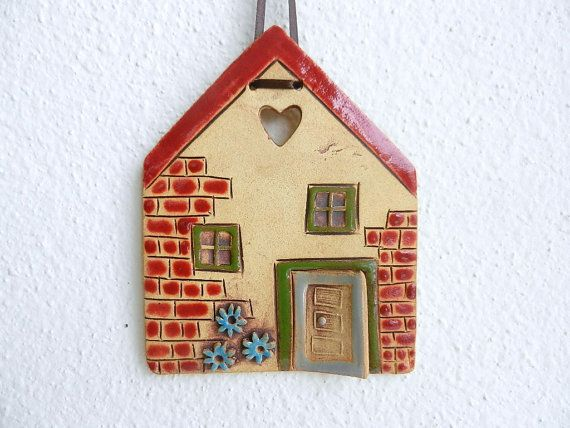 Ceramic house wall hanging, clay house,pottery house,stoneware house,house ornament,handmade ceramics and pottery,fairy house red roof home