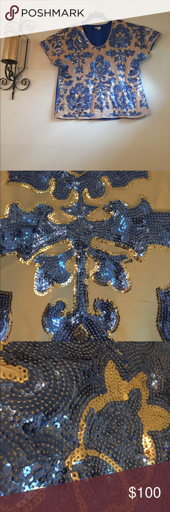 NEIMAN Marcus/Tracy Reese New York Blouse ABSOLUTELY GORGEOUS!!!! royal blue and gold sequin designs beautiful khaki color backdrop and back of Blouse is royal blue Neiman Marcus Tops Blouses