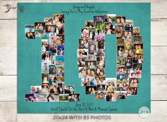 10th Wedding Anniversary Gift 10th Birthday Decoration Etsy 10th Wedding Anniversary Gift Birthday Gift Photo Anniversary Gifts For Wife