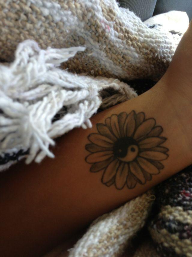 Ying yang flower tattoo