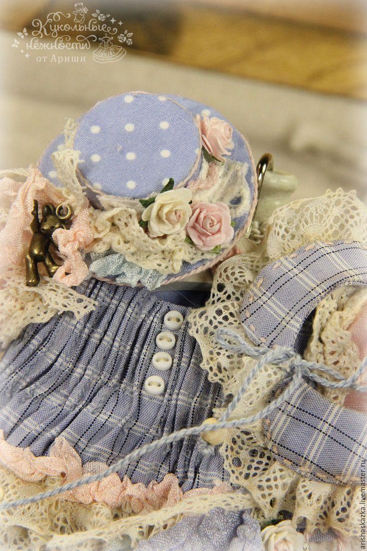 Купить Комплект  с шляпкой . Комплект в стиле прованс . - платье для куклы, обувь для куклы, ярмарка мастеров