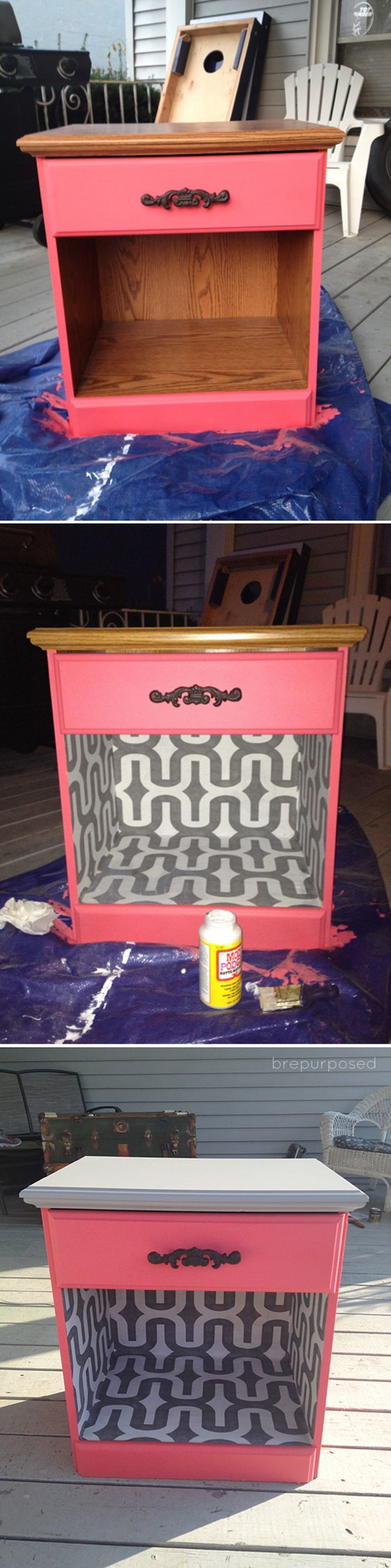 Simple Creative Homemade DIY Nightstand Ideas | $8 Night Stand Table by DIY Ready at http://diyready.com/17-creative-and-cheap-diy-nightstands/