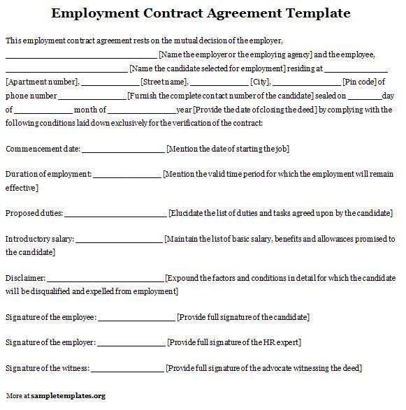 Sample Employment Agreement Template 10+ Employment Contract - contractual agreement template