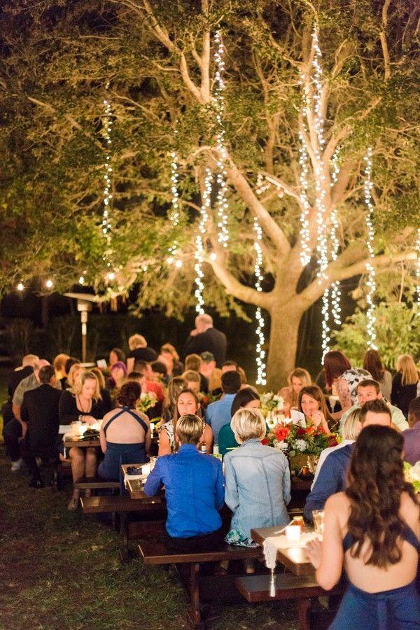 amazing hanging lights at this backyard wedding - photo by L. Martin Wedding Photography