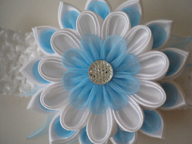 Headband kanzashi flower elastic band fabric by myflowersshop