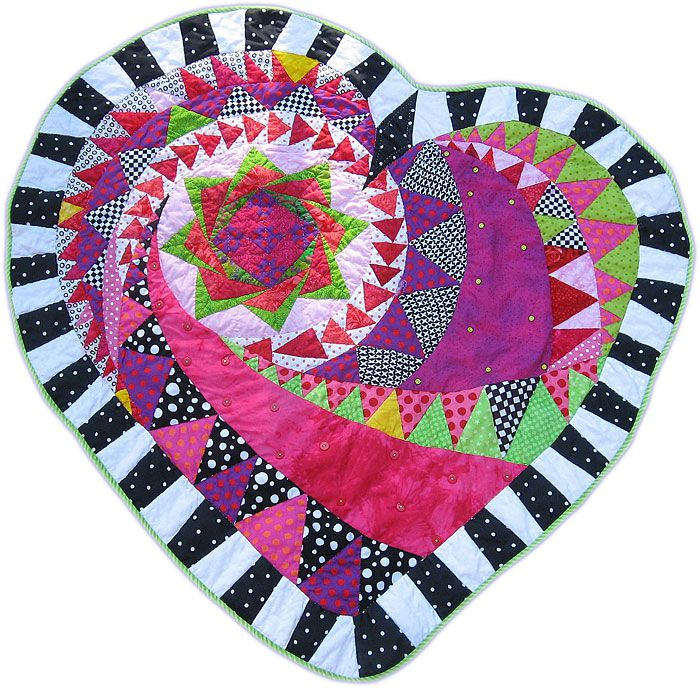 Heart Quilt with flying geese, © 2010 By Janice Schindeler, posted by Gail Garber